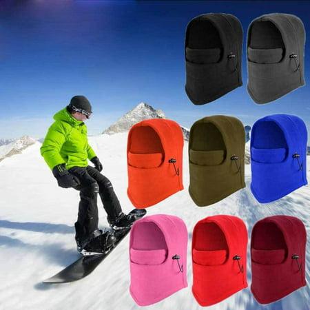 6 in 1 Thermal Fleece Balaclava Outdoor Ski Masks Bike Cycling Beanies Winter Mask Hats