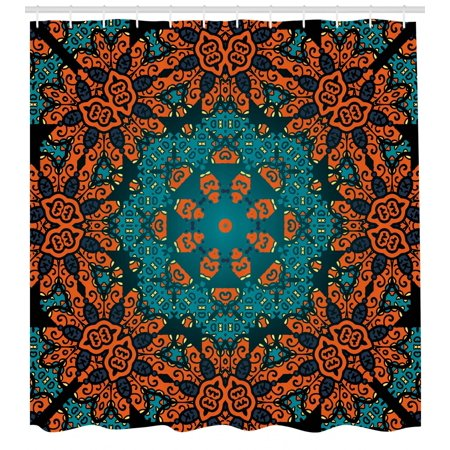 Psychedelic Shower Curtain Round Flowers Floral Patterns With Motif Boho Hippie Style Image Fabric Bathroom Set Hooks Teal Orange