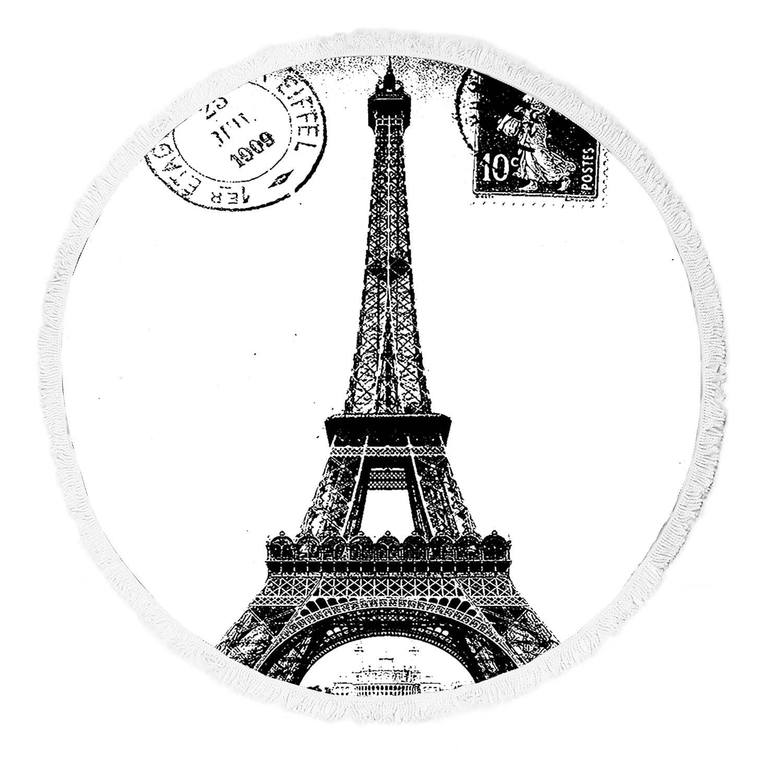 GCKG Frech Paris Eiffel Tower City of Love Black White Round Beach Towel Beach Mats Beach Shawl Beach Blanket with Tassels Yoga Mat - image 3 de 3