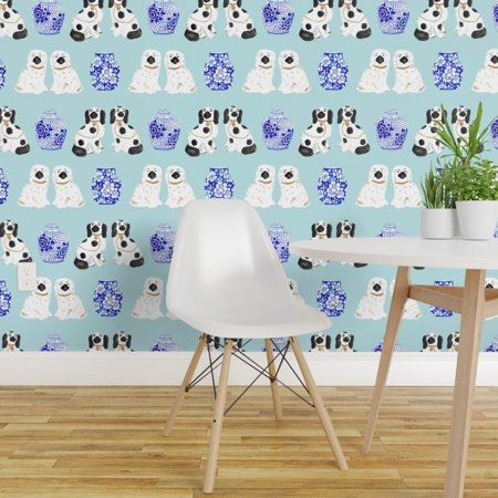 Peel and Stick Removable Wallpaper Baby Blue Light Blue Chinoiserie