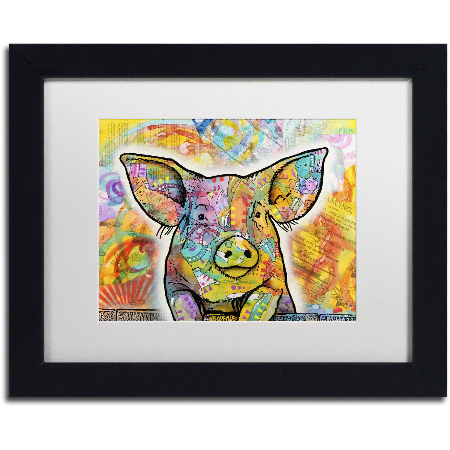 Trademark Fine Art 'The Pig' Canvas Art by Dean Russo, White Matte, Black Frame