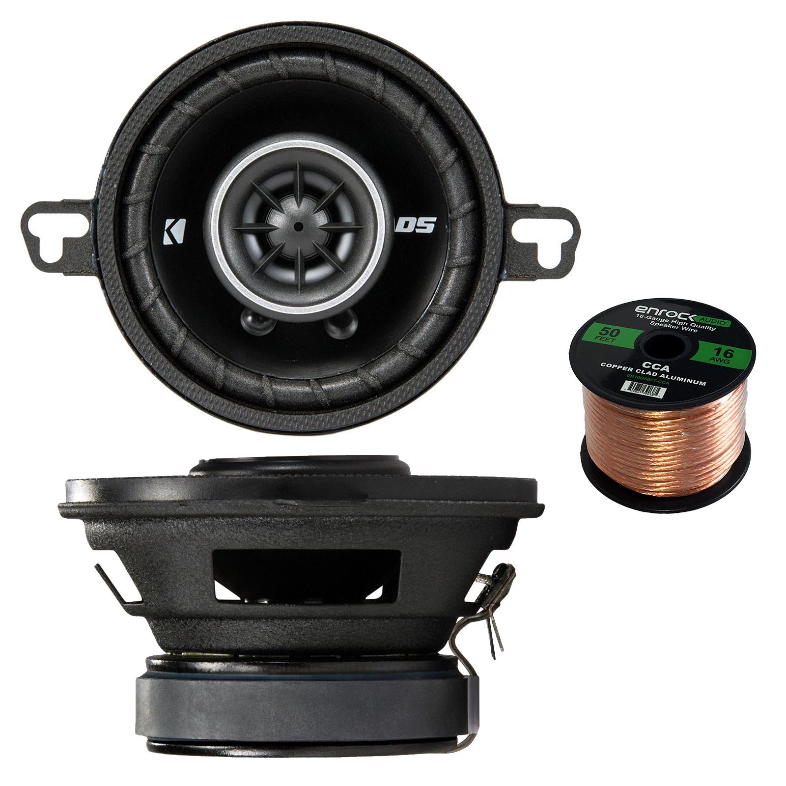 Car Audio Package: Kicker 43DSC3504 3-1/2-Inch 3.5-Inch 30W 2-Way Speakers DSC35 DS35 Coax (Pair), Enrock Audio 16-Gauge 50 Foot Speaker Wire