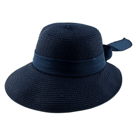 Ladies Women Straw Bowknot Design Floppy Wide Brim Sun Cap Beach Hat - Dark Bald Cap
