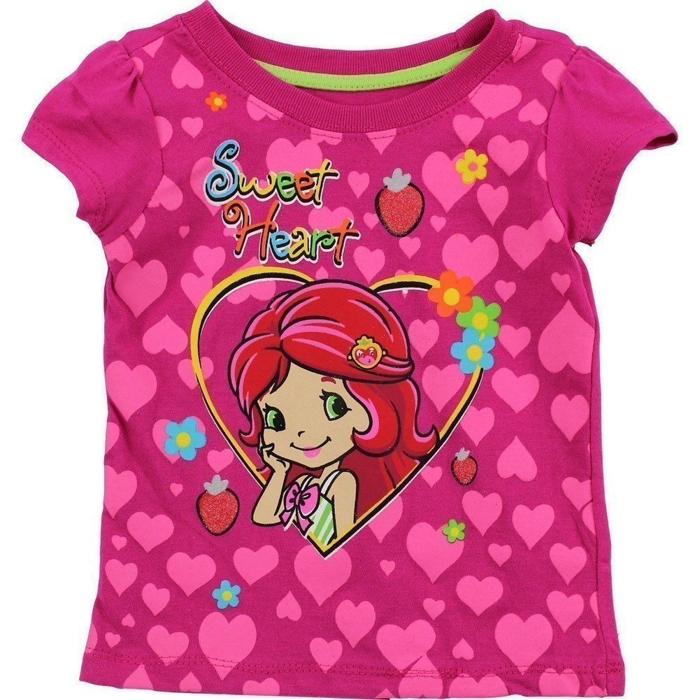 B - One Little Girls Fuchsia Strawberry Short Cake Heart Pattern T - Shirt 2 - 4T