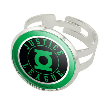 Justice League Green Lantern Athletic Logo Silver Plated Adjustable Novelty Ring ()