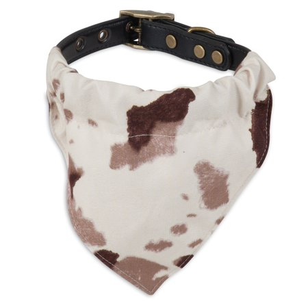 Petmate MuttNation Fueled by Miranda Lambert Brown Cowhide Print Bandana Custom Fit Dog Collar Small (Custom Bandana)