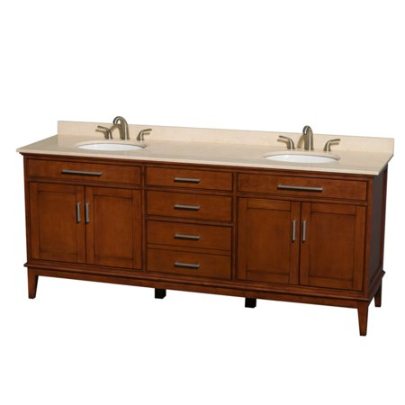 Wyndham Collection Hatton 80 inch Double Bathroom Vanity in Light Chestnut, Ivory Marble Countertop, Undermount Square Sinks, and No Mirror