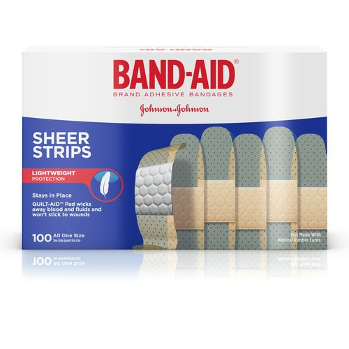 Band-Aid Sheer Strips Bandages, 100 count
