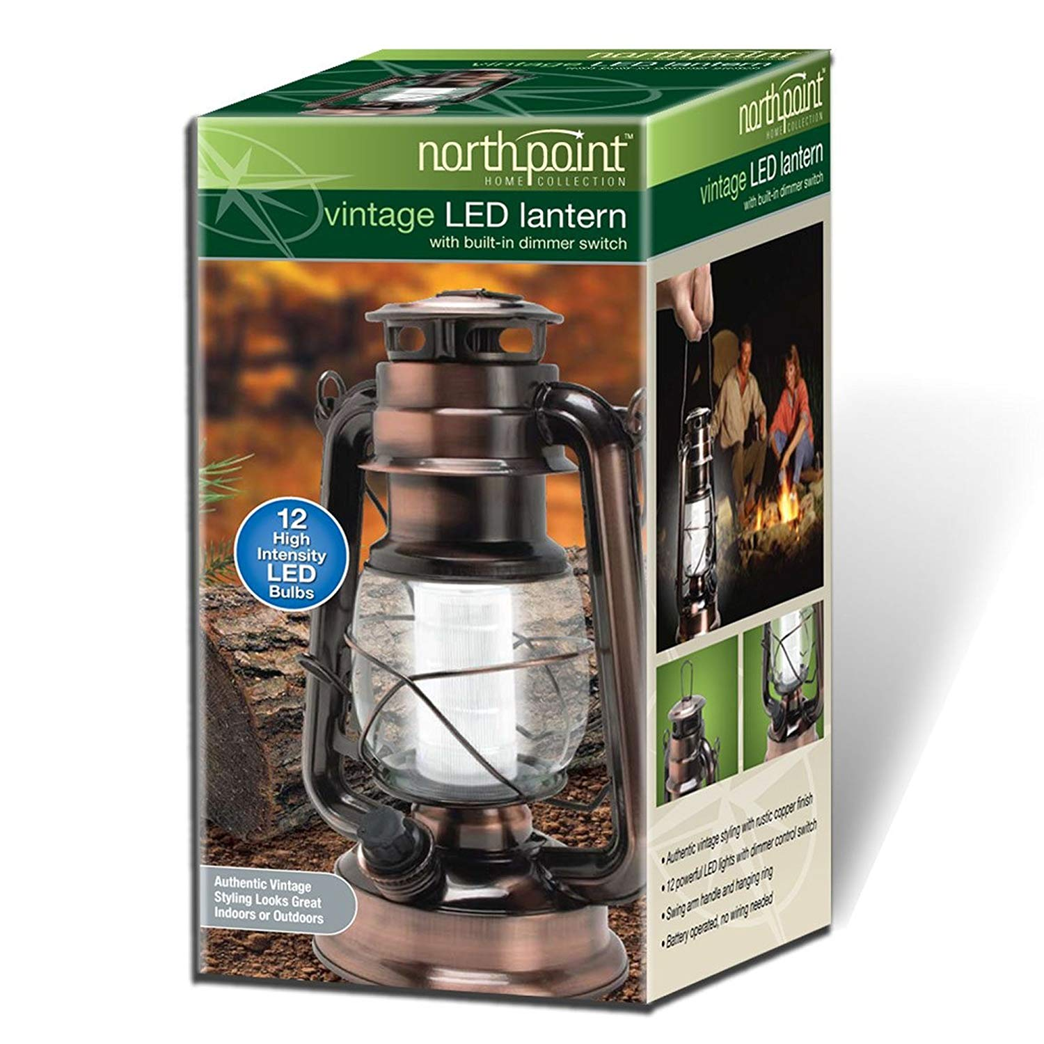 Vintage Style Copper Hurricane Lantern with 12 LED's and 150 Lumen Light Output and Dimmer switch, Battery Operated Hanging Lantern for Indoors.., By Northpoint,USA
