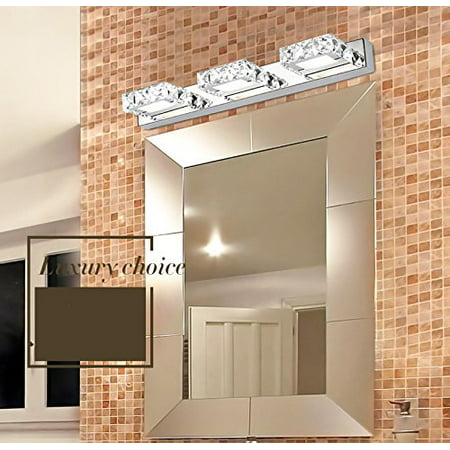Knifun  Modern Silvery 3 LED Crystal Mirror Front lamp Warm White LED Vanity Bathroom Light Simple Make-up Wall Light Wall Sconce Mirror Light ()