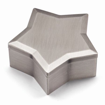 Pewter-tone Finish Lift-off Lid Star Jewelry Box - Engravable Gift Item