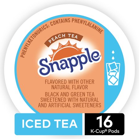 Snapple Peach Flavored Iced Tea, Keurig K-Cup Pods, 16ct