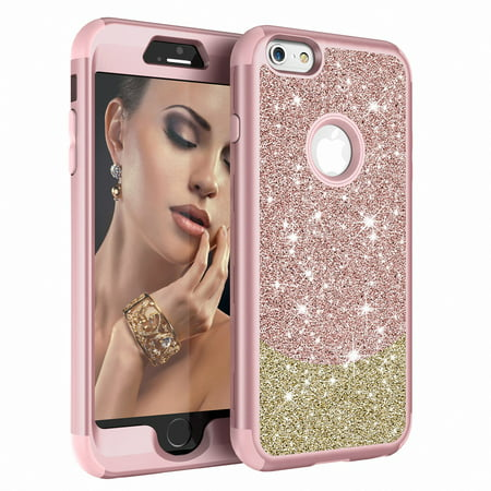 iPhone 6S / 6 Plus Case Cover, Allytech 3 In 1 Silicone PC Glitter Shockproof Lightweight Armor Defender Bumper Full Body Protective Case Cover for Apple iPhone 6S Plus, iPhone 6 Plus, Pink+Gold