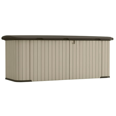 Suncast 269 Gallon Split Lid Resin Storage Shed Deck Box, Light Taupe