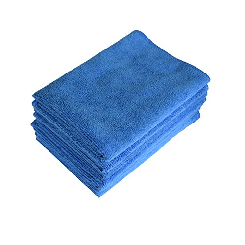 Pacific Linens Microfiber Cleaning Cloths, Towel for cars, Windows, MIrrors, Laptop Computer Screen, iPhone, iPad and more. 6 Pack 16'' x 16'' by Pacific Linens (Blue)