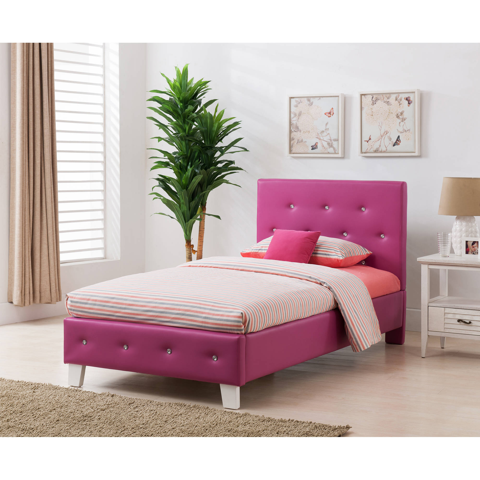 Boraam 95115 Kelsey Full Bed Set, Electric Pink