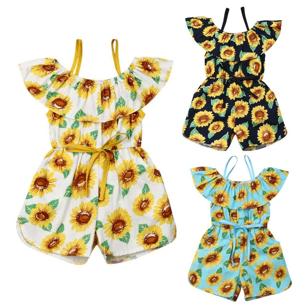 Outfits for Toddler Girls Clothes Sets Off 2 Pcs Sunflower Flared Pant Bell Toddler Girls Rompers and Jumpsuits