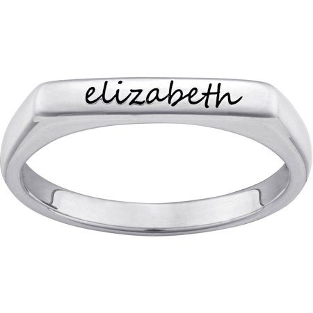 Sterling Silver Rectangular Ring (Personalized Sterling Silver Engraved Rectangular Stackable)