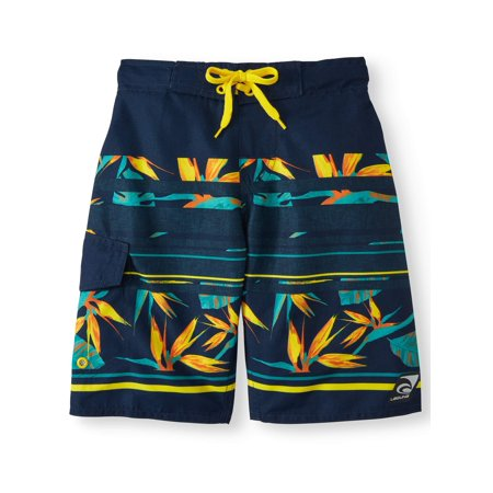 Off The Shore Tropical Stripe Swim Trunks (Big Boys)