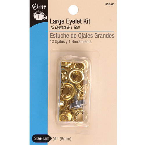 Dritz Eyelet Kit: Gold, 6mm, 12 Pieces