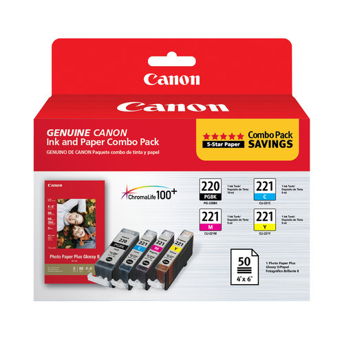 Canon PGI-220 and CLI-221 CMY with PP-201 Combo Pack