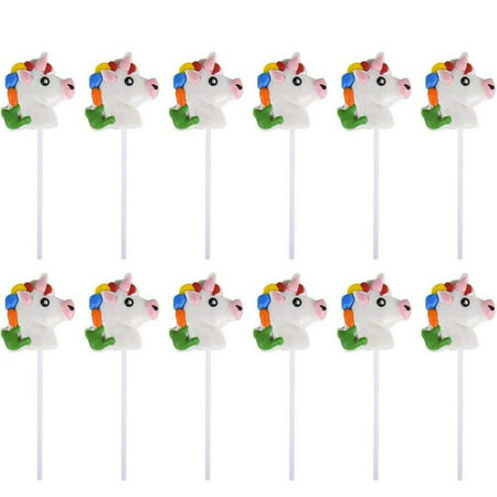 "Candy Hands For Halloween (2"" Head Unicorn Lollipops - Pack of 12 Magical Candy Suckers for Party Favors, Cake Decorations, Novelty Supplies or Treats for Halloween, Christmas, Baby Showers by)"
