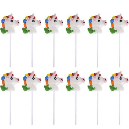 "2"" Head Unicorn Lollipops - Pack of 12 Magical Candy Suckers for Party Favors, Cake Decorations, Novelty Supplies or Treats for Halloween, Christmas, Baby Showers by Kidsco - Halloween Eye Cake Balls"