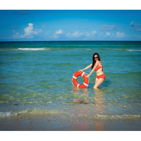 Canvas Print People South Beach Bikini Florida Attractive Woman Stretched Canvas 10 x 14