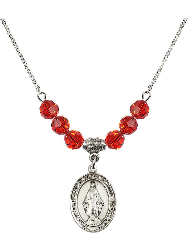 Bonyak Jewelry 18 Inch Rhodium Plated Necklace w// 6mm Red July Birth Month Stone Beads and Miraculous Charm