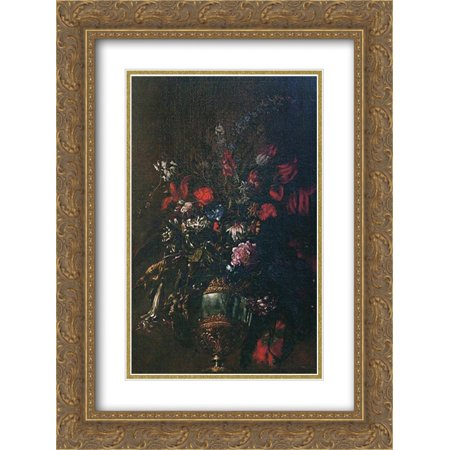 Mario Nuzzi 2x Matted 20x24 Gold Ornate Framed Art Print 'Natura morta di fiori in un