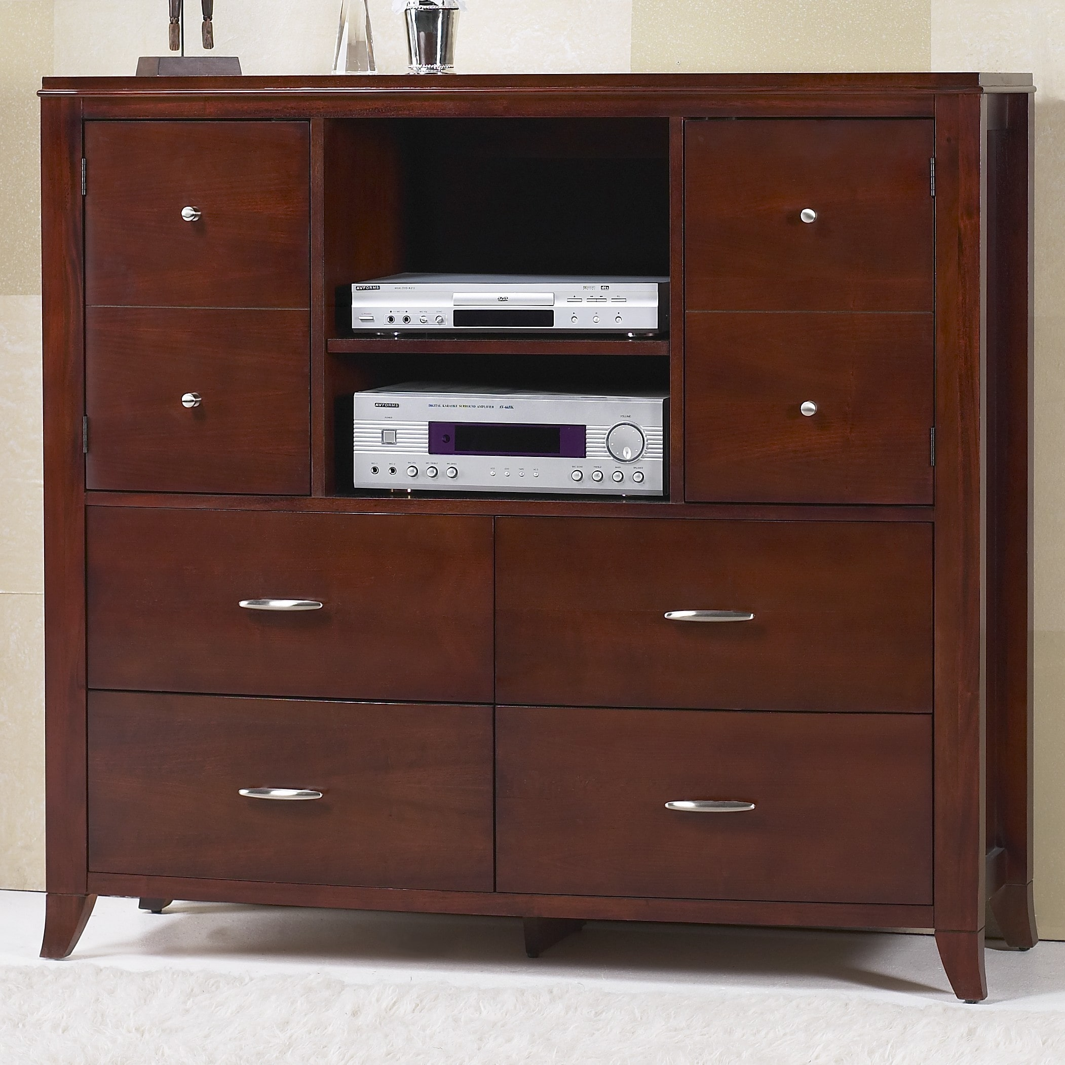 Domusindo Bow Front 4-drawer 2-door Media Chest