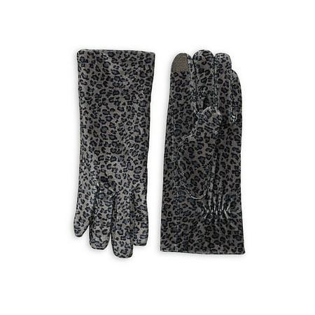 Leopard Print Velvet Gloves