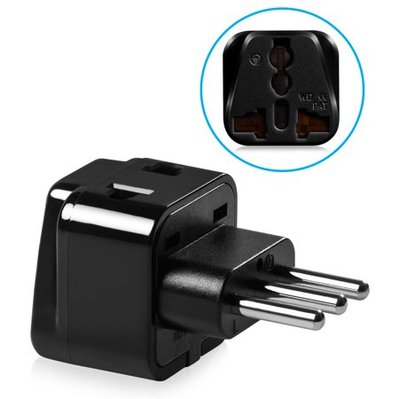 Type L Plug Adapter, Fosmon Universal USA to Italy Travel Wall Power Converter Adapter, CE Certified Compact Electrical Outlet - Black (Type 12 Outlet Power Filter)