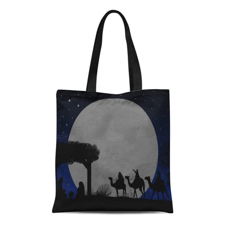 KDAGR Canvas Bag Resuable Tote Grocery Shopping Bags Christmas Nativity Scene Baby in the Manger Mary and Joseph Silhouette Tote Bag](Manger Silhouette)