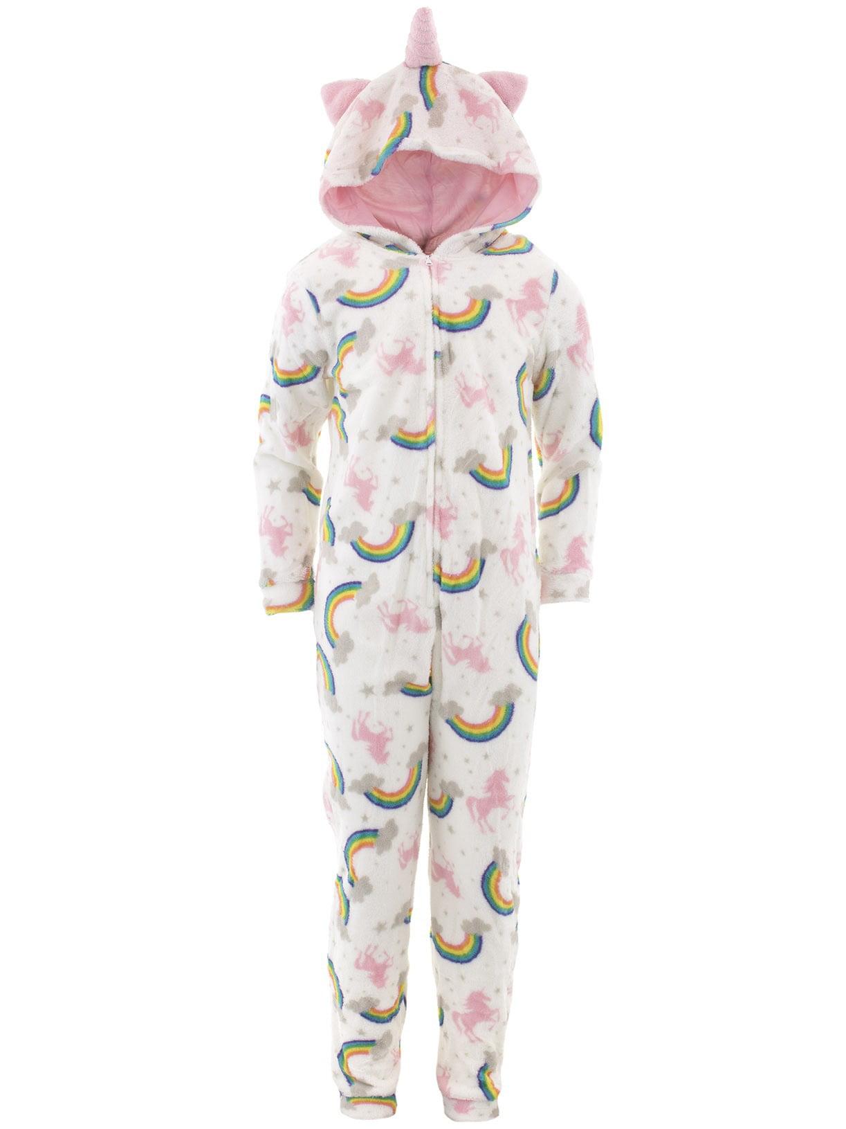 dELiA*s Girls Unicorn White Hooded One-Piece Pajamas