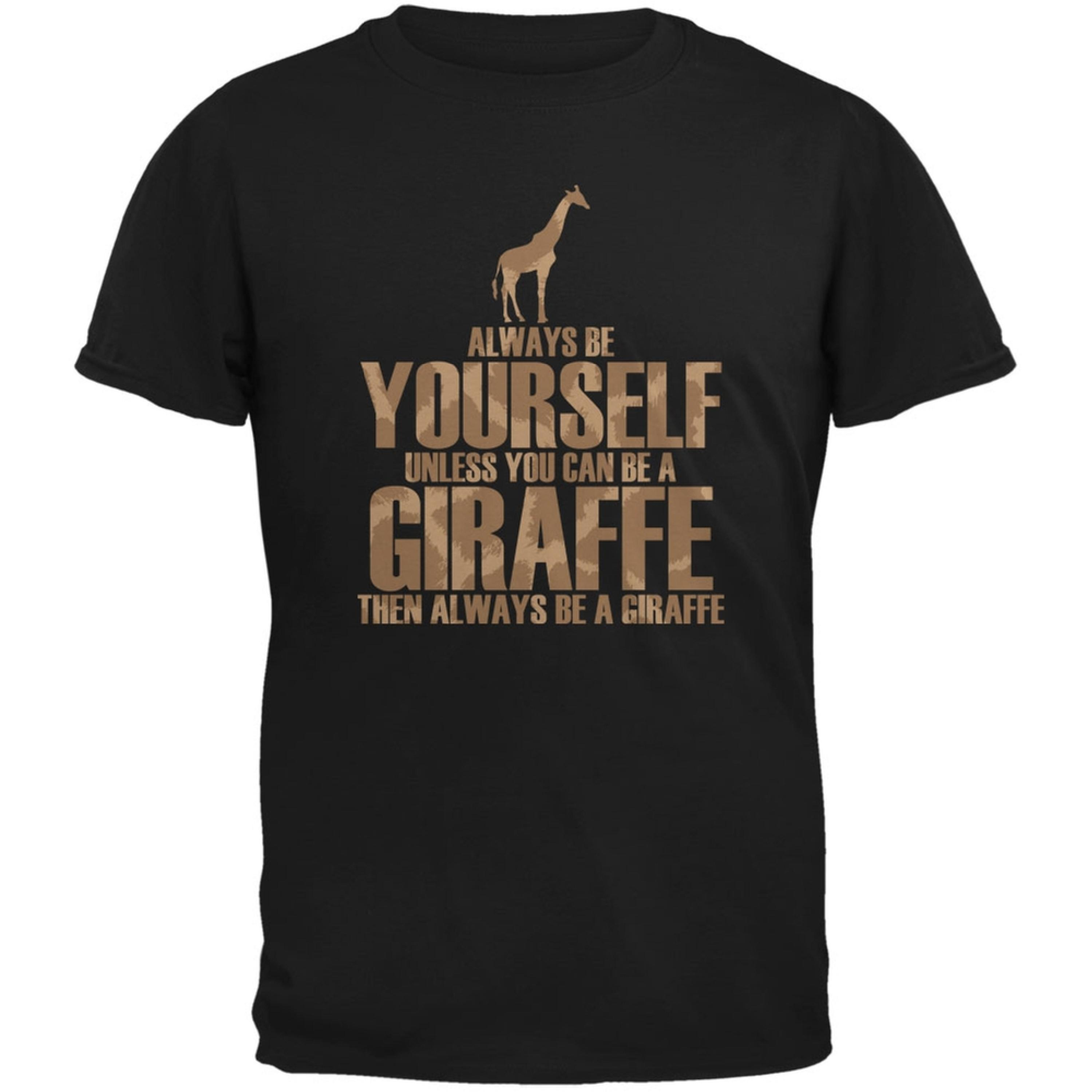 Always Be Yourself Giraffe Black Adult T-Shirt