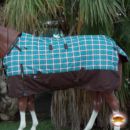 "66"" HILASON 1200D WATERPROOF TURNOUT WINTER HORSE BLANKET TURQUOISE PLAID PRINT"
