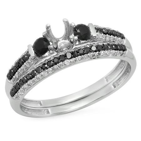 0.65 Carat (ctw) 10K Gold Round Black & White Diamond Ladies Semi Mount Bridal Engagement Ring Set Semi Mount Bridal Sets