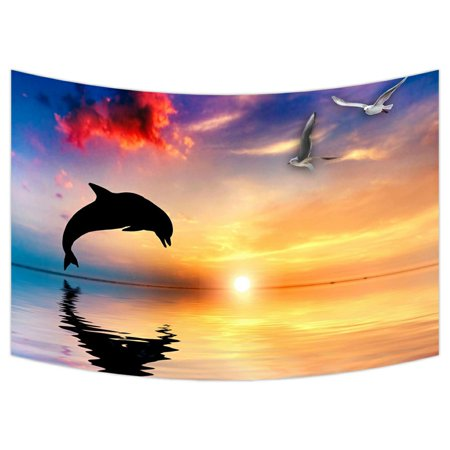 ZKGK Dolphins Tapestry Wall Hanging Wall Decor Art for Living Room Bedroom Dorm Cotton Linen Decoration 90x60 Inches