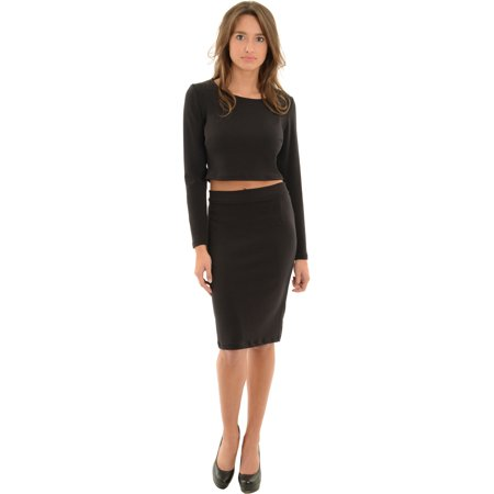c70a8b99e75c17 Avital - Womens Long Sleeve Black Crop Top and Fitted Pencil Skirt 2 Piece  Set - Walmart.com