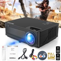 Excelvan 2019 Upgraded M5 LED Projector, 30% Lumens Brighter, Multimedia Home Theater Support Full HD 1080P HDMI VGA AV USB