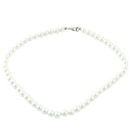 Ladies Single Strand Clasp Round Faux Pearl Necklace Jewlery Off White (Off White Pearl)
