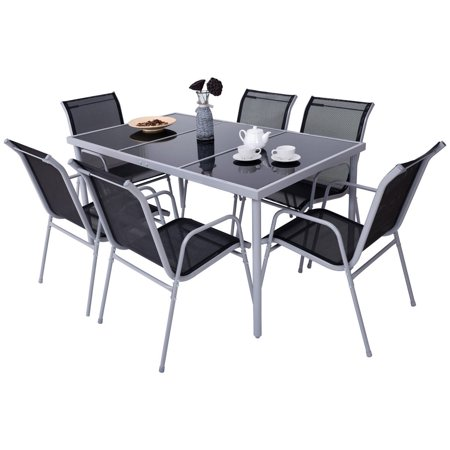 Costway Patio Furniture 7 Piece Steel Table Chairs Dining Set Outdoor Glass Table Top ()