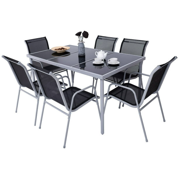 Costway Patio Furniture 7 Piece Steel, Patio Furniture Table And Chairs