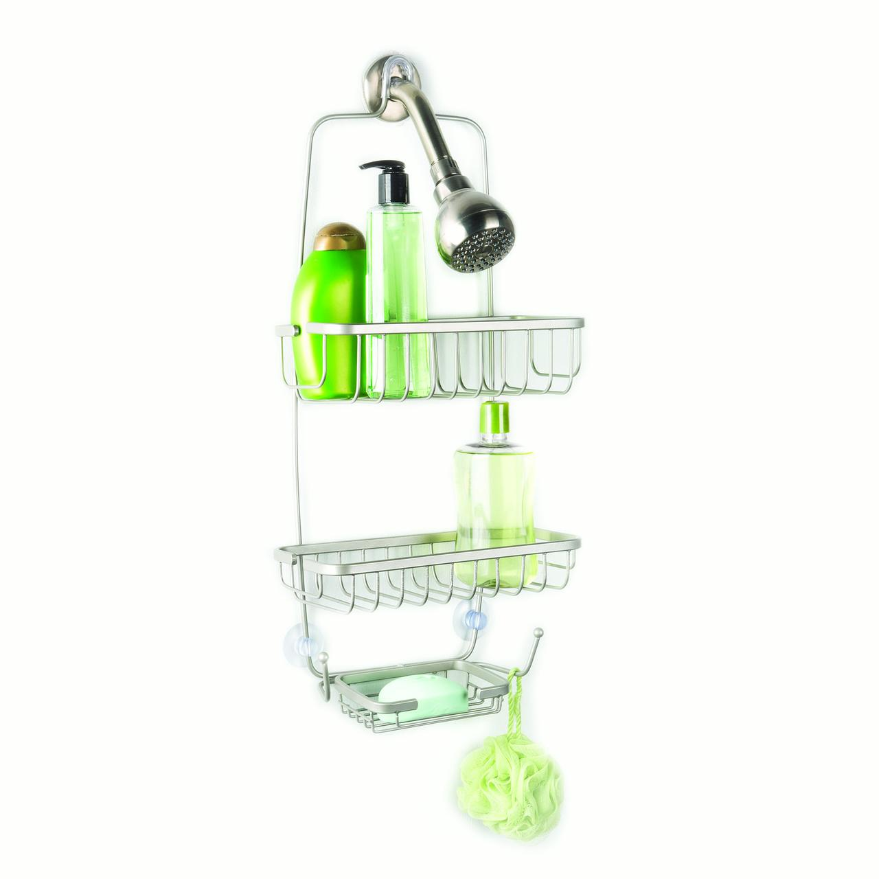 Over The Showerhead Two Tier Open Wire Shower Caddy With Soap Dish And 2 Hooks by Richards Homewares