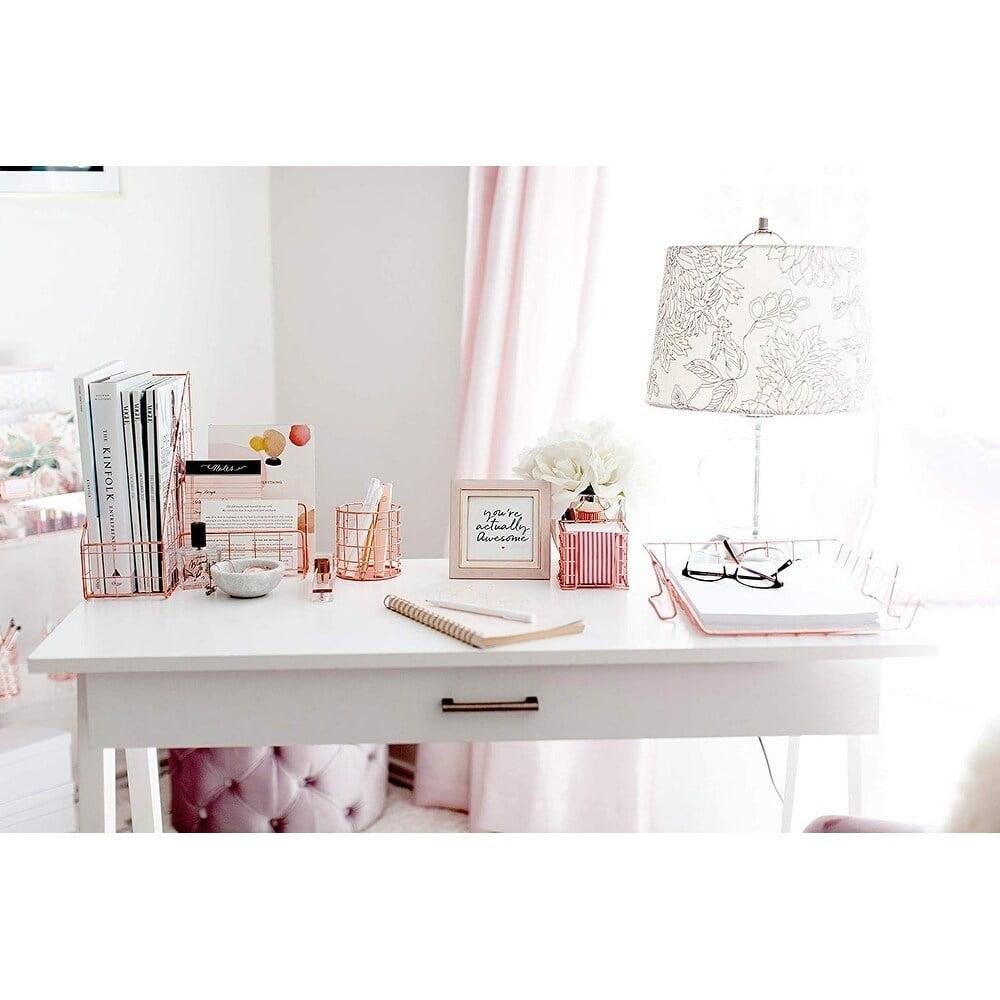 Blu Monaco Office Supplies Rose Gold Desk Accessories for Women - 34 Piece  Wire Rose Gold Desk Organizer Set ? Letter Sorter, Paper Tray, Pen Cup,