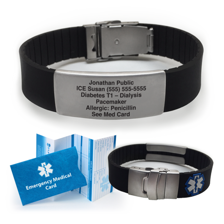 American Medical Id Jewelry - Silicone SPORT Medical Alert ID Bracelet - Custom Engraved! Choose Your Color!