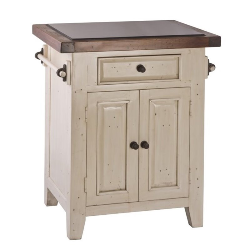 Bowery Hill Granite Top Kitchen Island in Country White