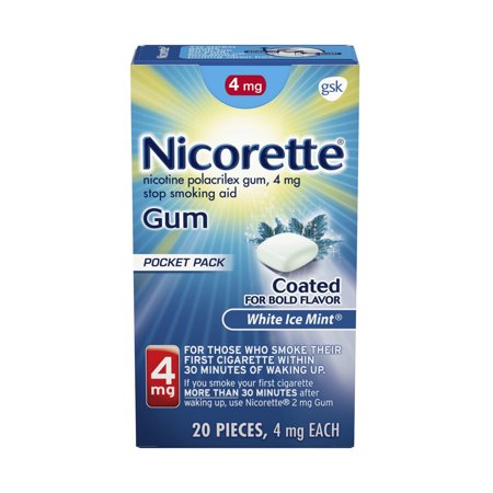 Nicorette Nicotine Gum, Stop Smoking Aid, 4 mg, White Ice Mint Flavor, 20 count Quit Smoking Gum