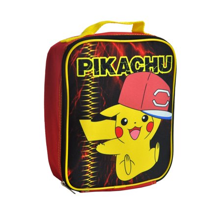 Kids Pikachu Pokemon  Insulated Lunch Bag with Bottle Pocket Red - Pikachu With Glasses